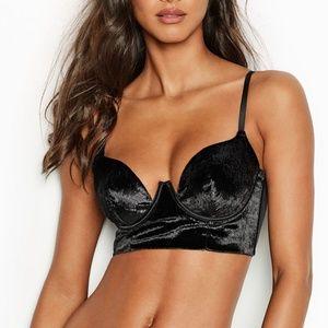 Victoria S Luxury Black Velvet Bra Balconet NWT